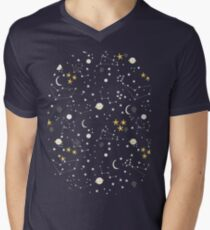 cosmos, moon and stars. Astronomy pattern Men's V-Neck T-Shirt