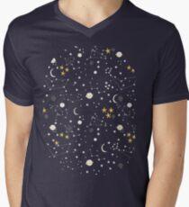 Camiseta de cuello en V Cosmos, luna y estrellas. Patrón astronomico