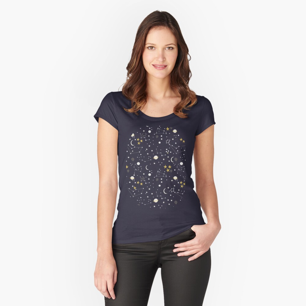 cosmos, moon and stars. Astronomy pattern Fitted Scoop T-Shirt