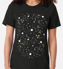 Camiseta de tejido mixto Cosmos, luna y estrellas. Patrón astronomico