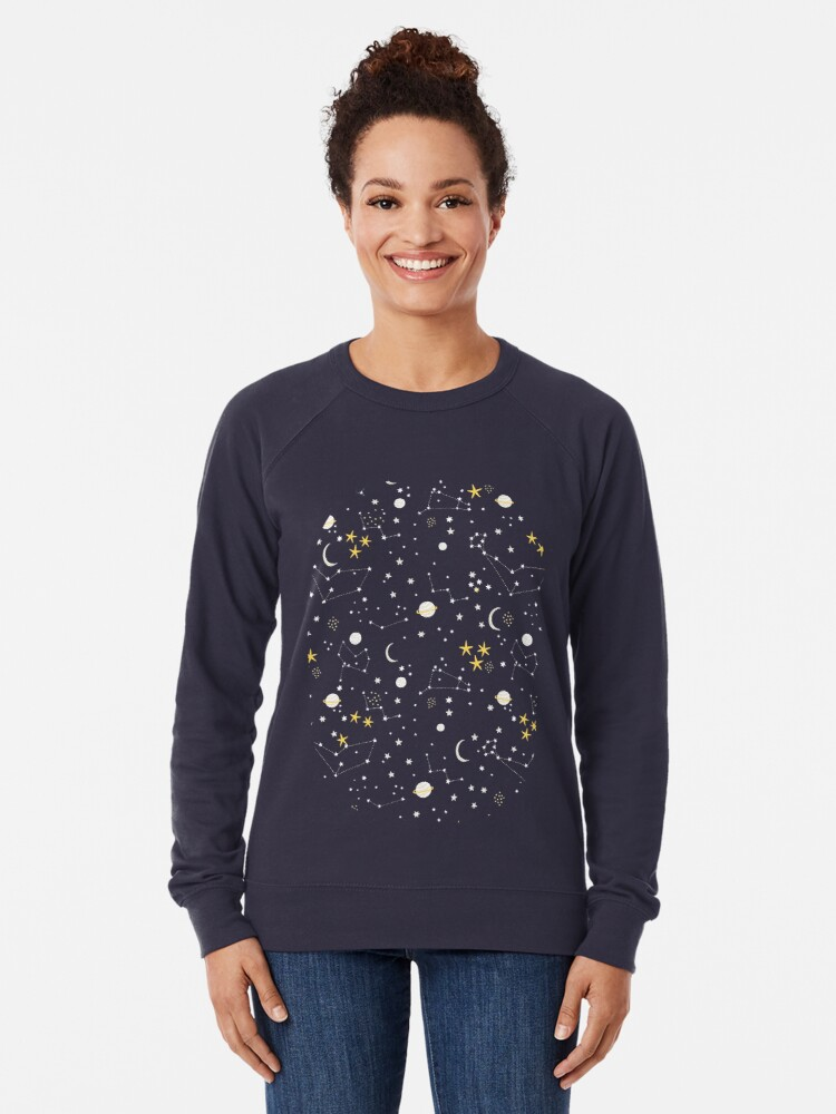 Alternate view of cosmos, moon and stars. Astronomy pattern Lightweight Sweatshirt
