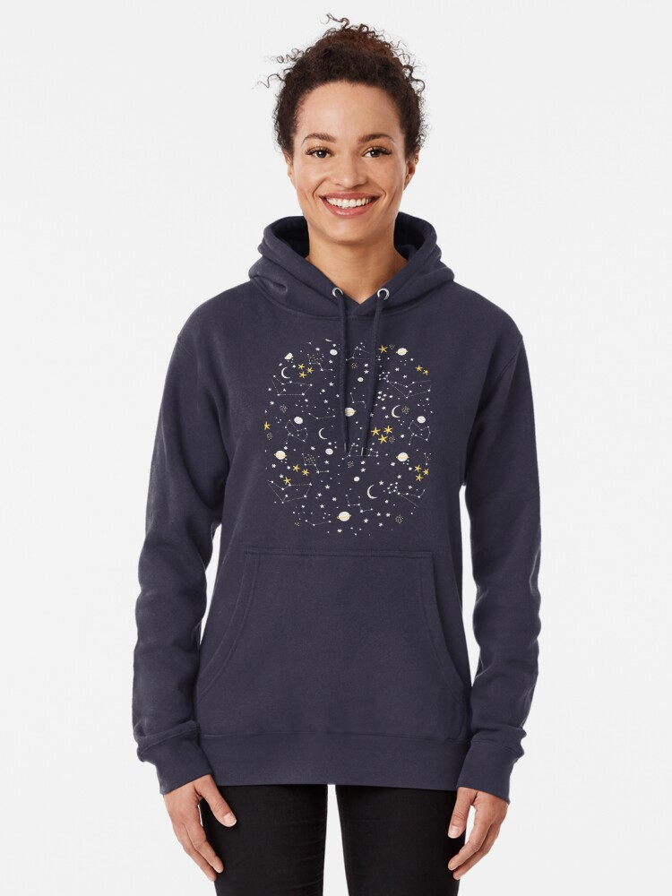 Alternate view of cosmos, moon and stars. Astronomy pattern Pullover Hoodie