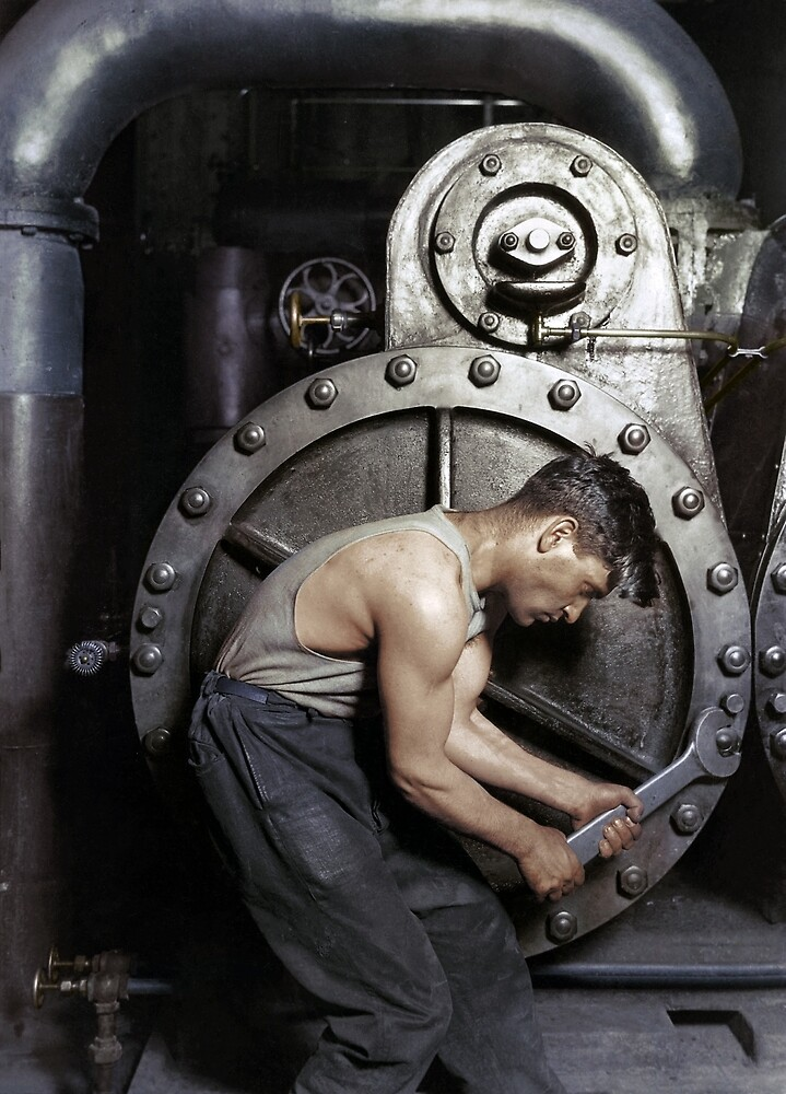 1920 - 'Powerhouse mechanic working on steam pump' by Lewis Hine by The Paper  Time Machine