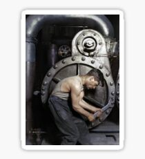 1920 - 'Powerhouse mechanic working on steam pump' by Lewis Hine Sticker