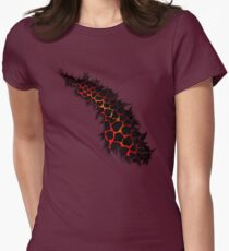 Red Leopard Print Ripped Tear Design  Womens Fitted T-Shirt