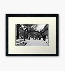 Snow-Covered Bench Framed Print