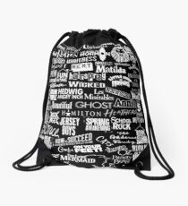 broadway baby {black and white version} Drawstring Bag
