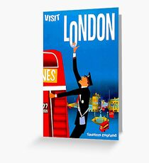 """VISIT LONDON"" Vintage Travel Advertising Print Greeting Card"