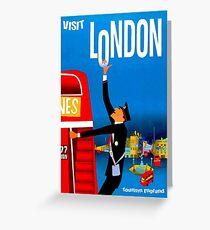 """BESUCH LONDON"" Vintage Travel Advertising Print Grußkarte"