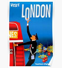 """BESUCH LONDON"" Vintage Travel Advertising Print Poster"