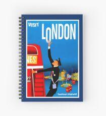 """VISIT LONDON"" Vintage Travel Advertising Print Spiral Notebook"