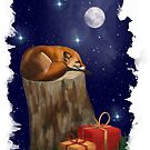 Fox Christmas Pen Illustration by LPDesignsAndArt
