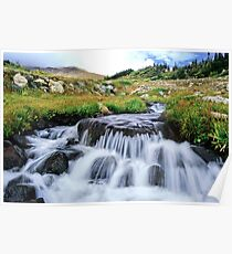 colorado rocky mountain waterfall Poster