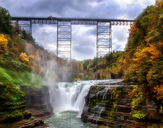 Upper Falls, Letchworth State Park - New York by Kathy Weaver