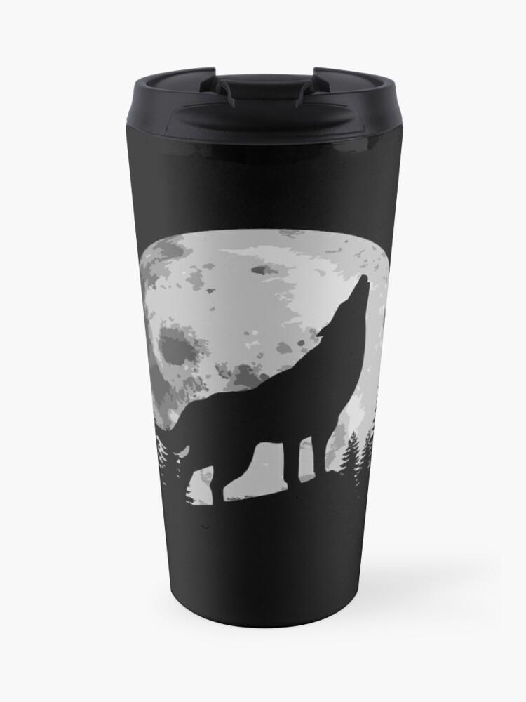 Silhouette De Loup Hurlant Dans La Lune Mug Isotherme