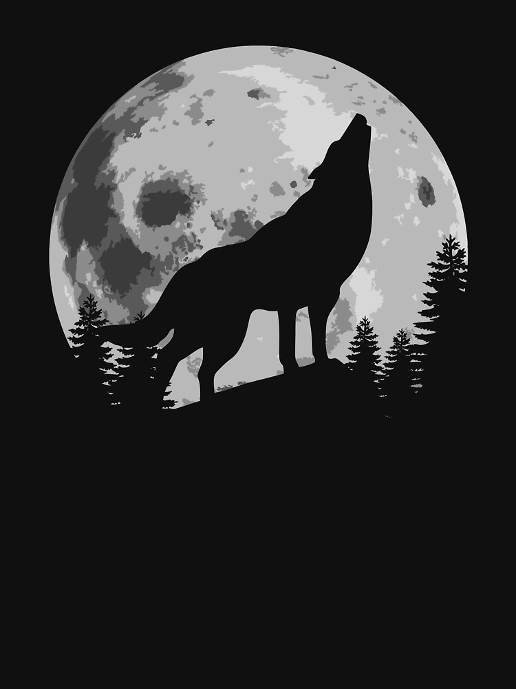 """Wolf Silhouette Howling In The Moon"" T-shirt By"