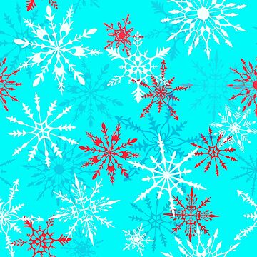 Snow Flurry in Cherry Red and White on Icy Blue by carabara