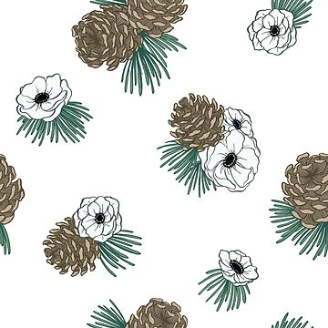 Winter Floral of Pinecones and White Anemone Flowers by carabara