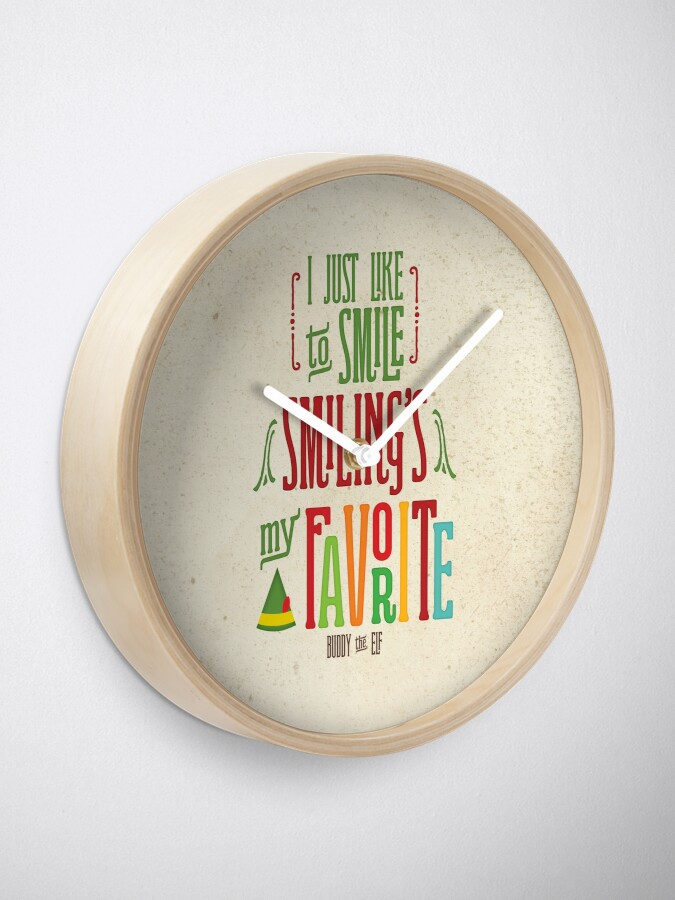 Alternate view of Buddy the Elf - Smiling's My Favorite! Clock