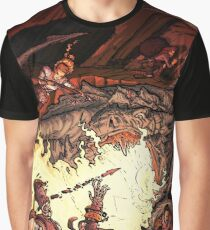 Dragon Incinerates Armored Warrior Graphic T-Shirt