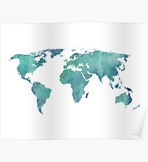Watercolor map in turquoise  Poster