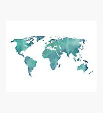 Watercolor map in turquoise  Photographic Print