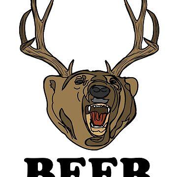 Divertido oso + ciervo = camisa de CERVEZA de IntrepiShirts