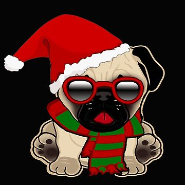 Christmas Pug Puppy in Santa Hat by RiffXS
