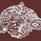 Two Wolves (White) by danibeez