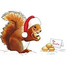Squirrel Eating a Mince Pie Illustration by LPDesignsAndArt