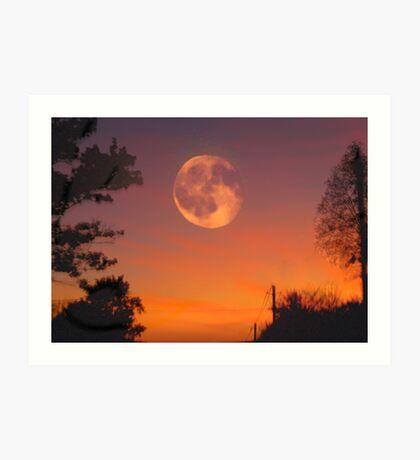 emerging moon Art Print