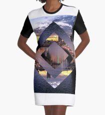 Beautiful Geometric Brisbane River Graphic T-Shirt Dress