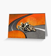 retro motorcycle Isle of Man TT poster Greeting Card