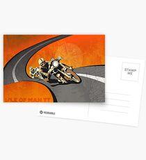retro motorcycle Isle of Man TT poster Postcards