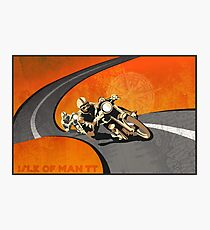 retro motorcycle Isle of Man TT poster Photographic Print