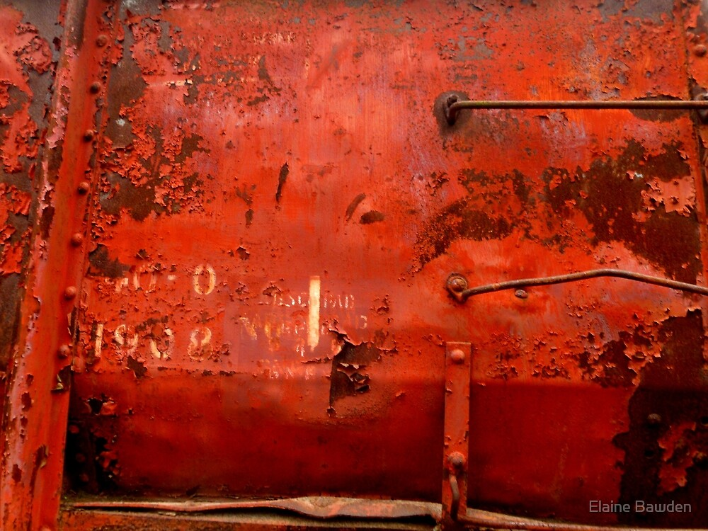 RUSTY AND WEATHERED OLD TRAIN by Elaine Bawden