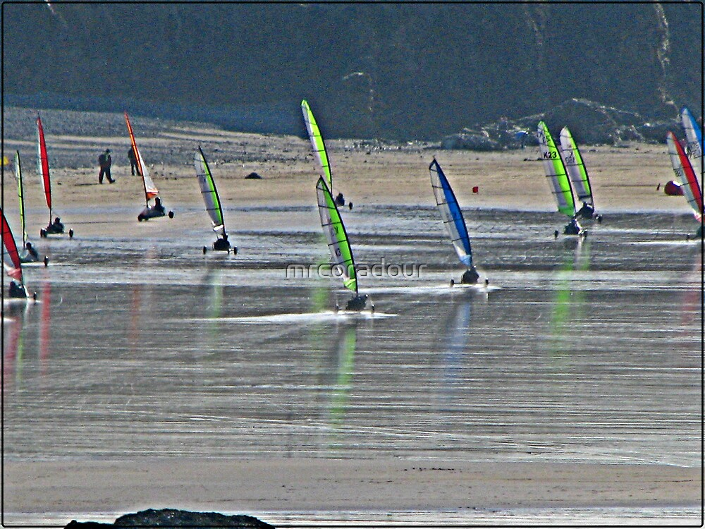 Land Yacht Racing at Godrevy Sands. by Malcolm Chant