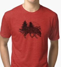 Wolf and Mountains (Black) Tri-blend T-Shirt