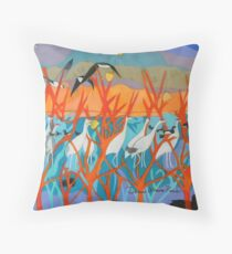 Nine Leaves in the Wind Throw Pillow