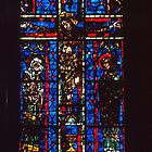 Stained Glass window Crucifixion 1180 St Remis Reims France 19840823 0076 by Fred Mitchell