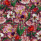 Bearded Iris and roses by ariellemorris