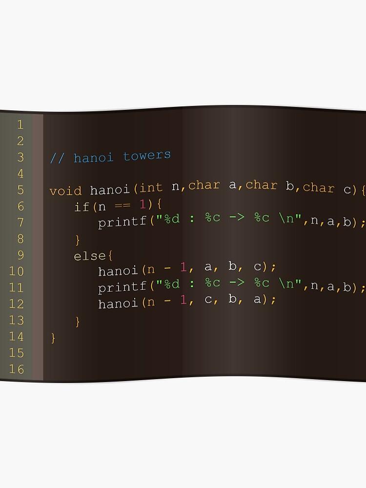 Hanoi towers algorithm - C | Poster