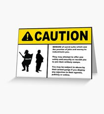 CAUTION!  Beware of weird cults. Greeting Card
