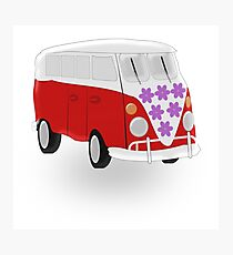 Red And White Camper Van Photographic Print