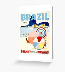 Vintage Brazil Travel Poster Greeting Card