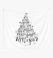 Merry Christmas quote lettering  in a shape of Christmas tree  Wall Tapestry