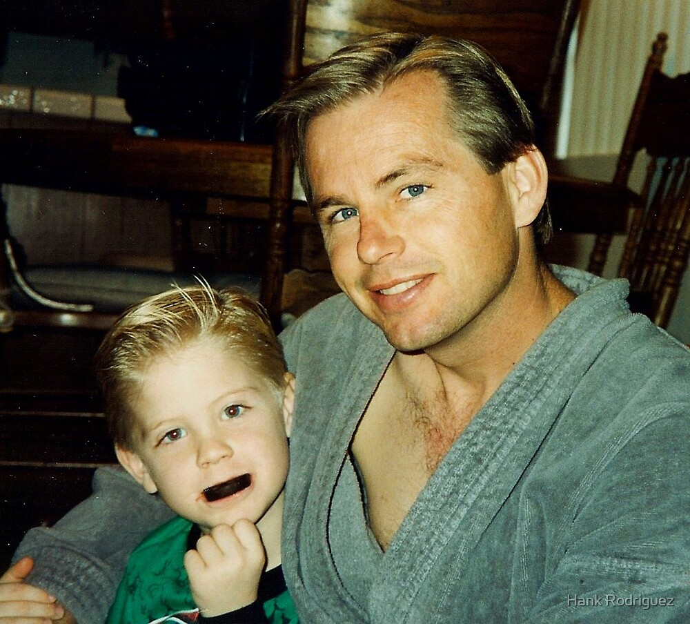 Ty and Daddy Christmas 1993 by Hank Rodriguez
