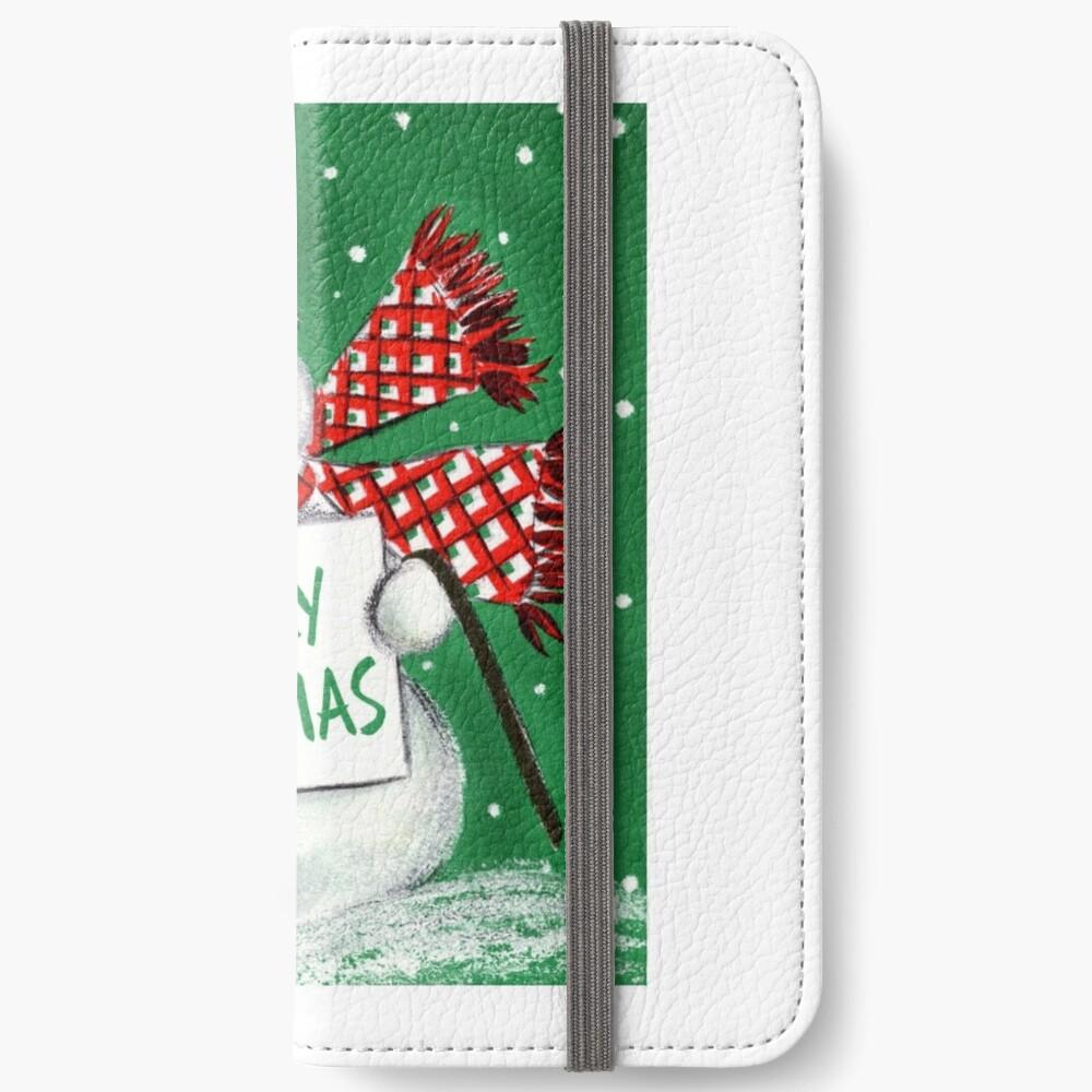 Weinlese-Weihnachtsschneemann iPhone Flip-Case