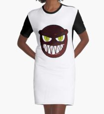 Angry Monster Face Graphic T-Shirt Dress