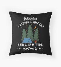 Funny Starry Night Sky Campfire Camping Party Gift Dekokissen